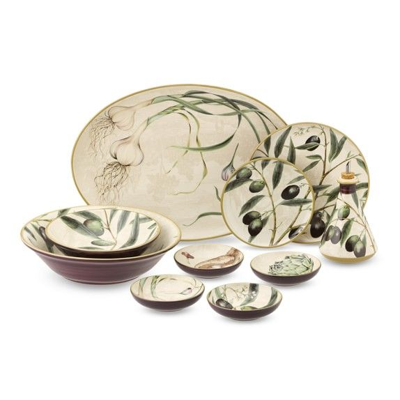 Botanical Olive Dinnerware Collection | Williams-Sonoma  sc 1 st  Pinterest : olive dinnerware - Pezcame.Com