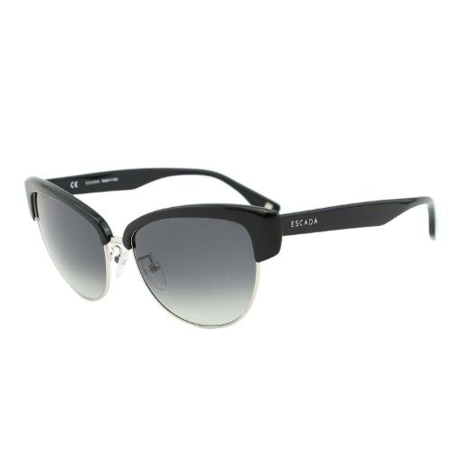 050ce7ca84c Escada SES 396 Black Metal   Acetate Clubmaster Cat-Eye Sunglasses ...