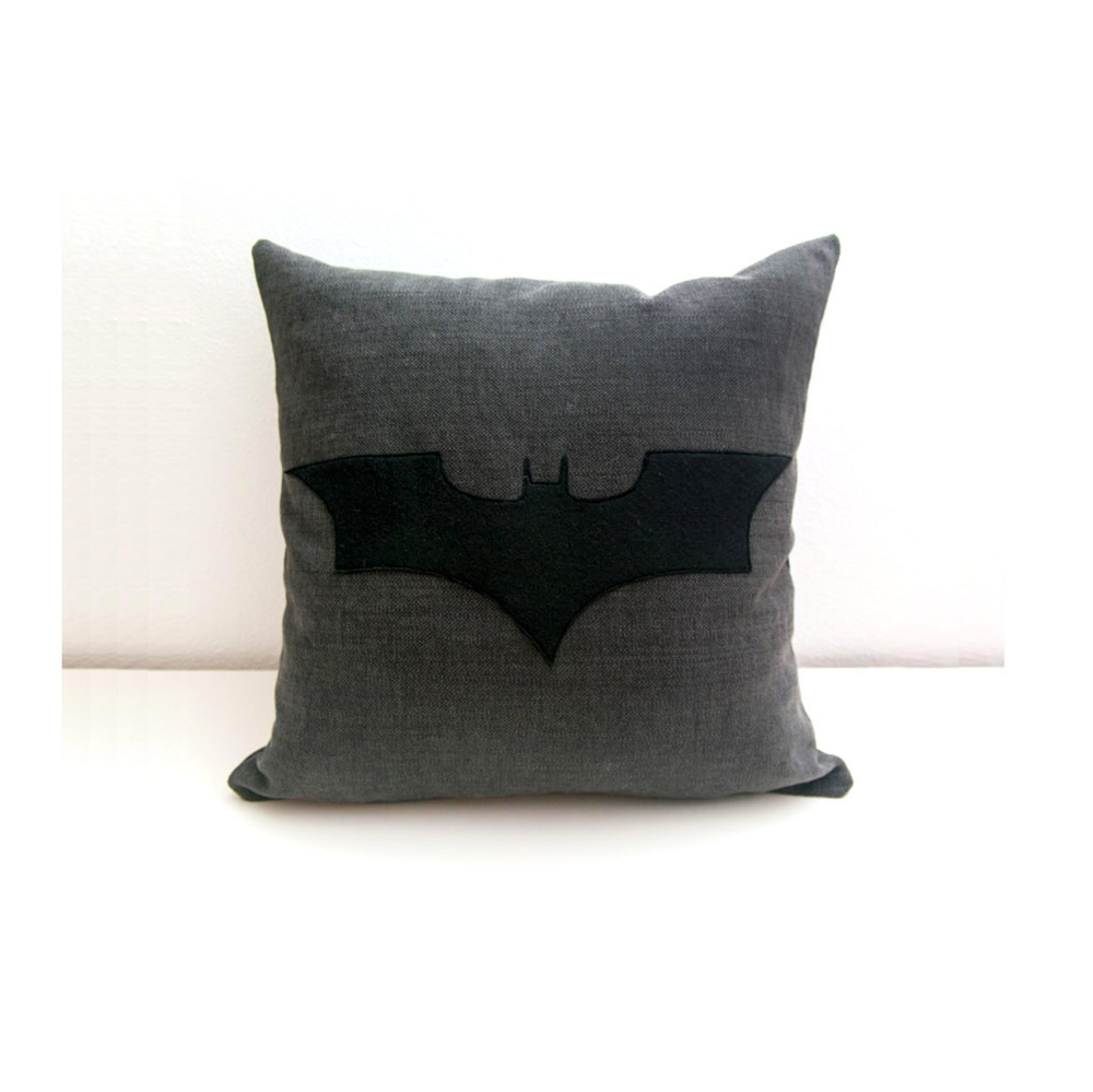 Batman cushion cover, grey and black, decorative pillow, nerd pillow, cojín del sofá, dorm pillow, cushions
