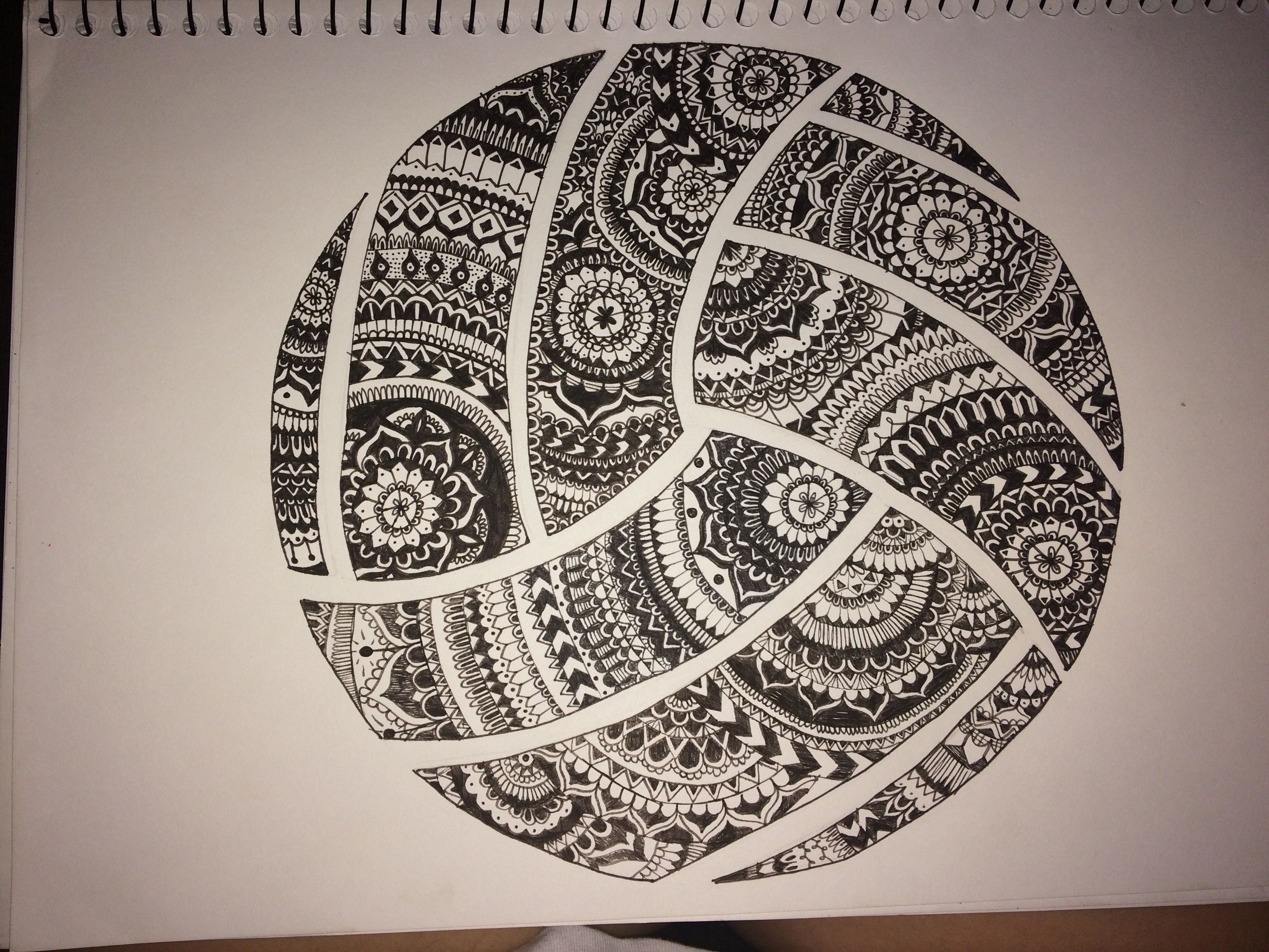 Mandala Volleyball Volleyball Tattoos Volleyball Designs Volleyball Drawing