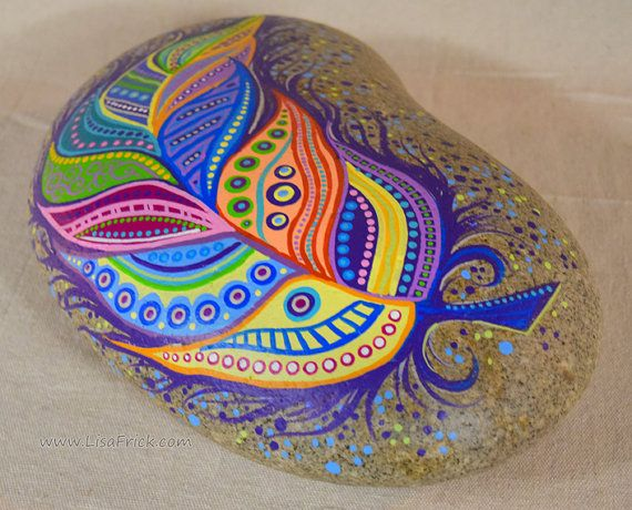 Paint Rock-Feather Doodle Zentangle by LisaFrick