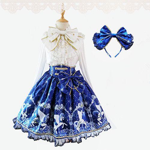 Barato 2015 nova doce lolita sky busto saia azul impresso partido do traje da…