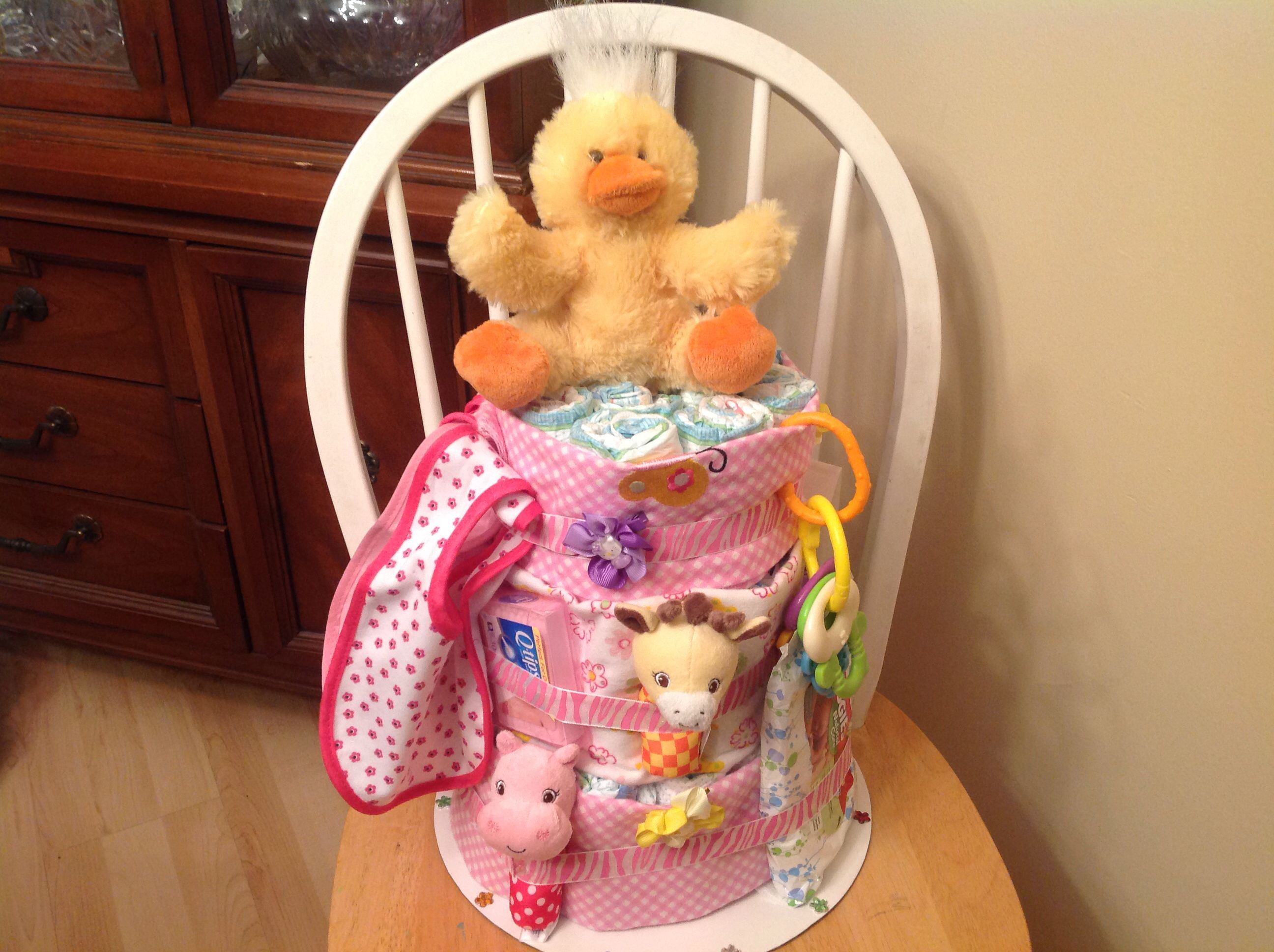 Diaper cake for friends baby shower