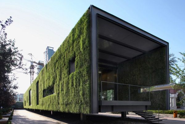 Sustainable Residential Design by Vector Architects - prefabricated grass clad house    This modern, sustainable structure in Beijing, China, houses the CR Land Guanganmen Green Technology Showroom. Created by Vector Architects, the 500m2 project is a temporary showcase for sustainable residential design, wrapped in an eco-friendly envelope of its own. After three years time, this modern model will be dismantled, but long after it's gone the conservational principle behind it will remain.