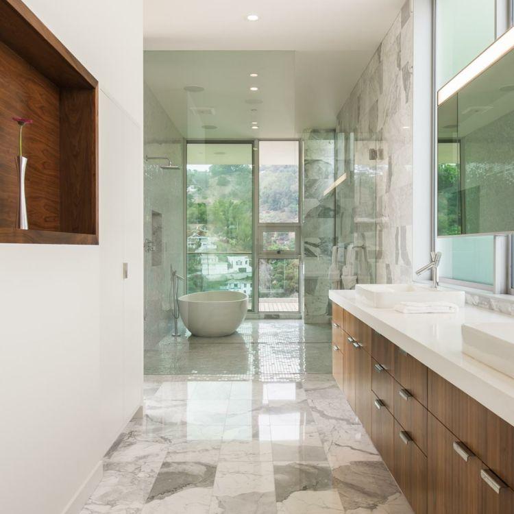 Wohnideen Fuer Badezimmer Fliesen Marmor Waschkonsole Regal Wand Holz