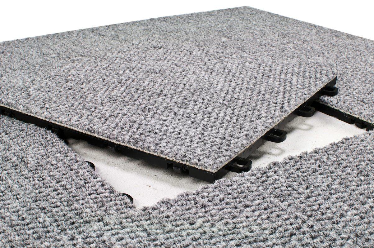 12 X 12 Premium Interlocking Basement Floor Carpet Tile In Gray Carpet Tiles Floor Carpet Tiles Carpet Tiles Basement