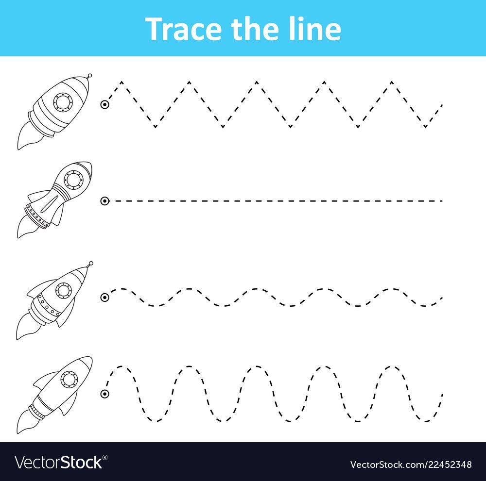 Illustration Of Trace Line Worksheet For Preschool Kids With Rockets Download A Free Pr Preschool Tracing Tracing Worksheets Preschool Kindergarten Worksheets [ 991 x 1000 Pixel ]
