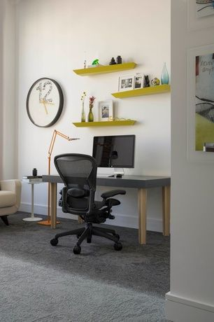 Home Office with White tulip end table, Carpet, Room essential  contemporary clock, Floating shelves, Floating shelf