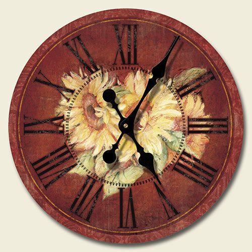 Round Wooden Wall Clock Sunflowers Garden Tuscan Kitchen Decor Terra Cotta