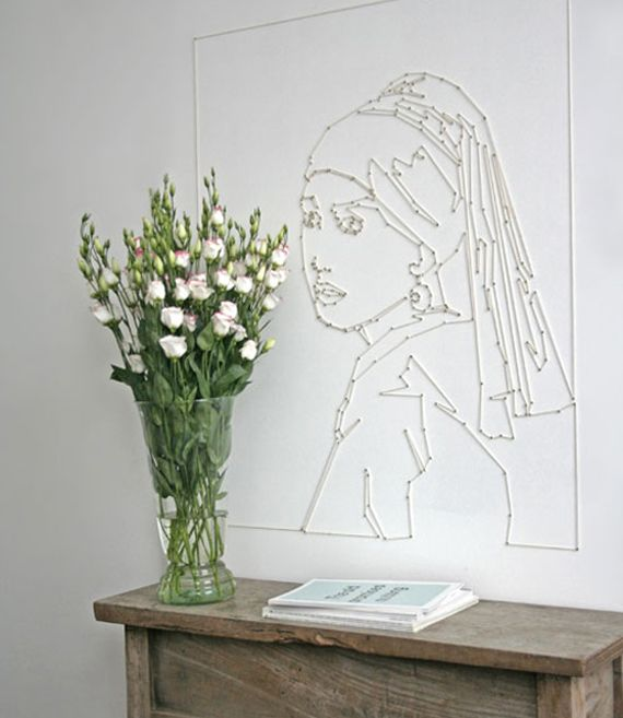 girl with a pearl earring - string art