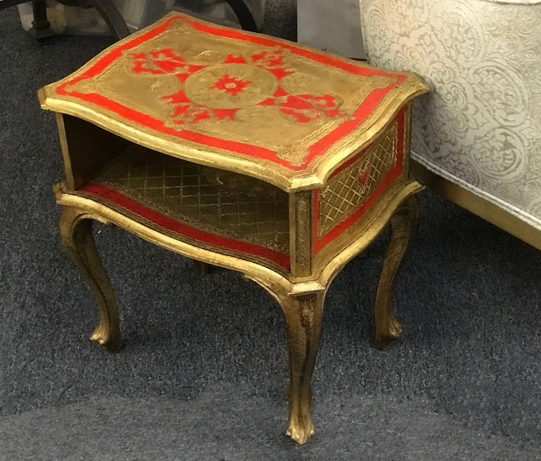 Vintage Italian Florentine Red and Gold Small End Table Great