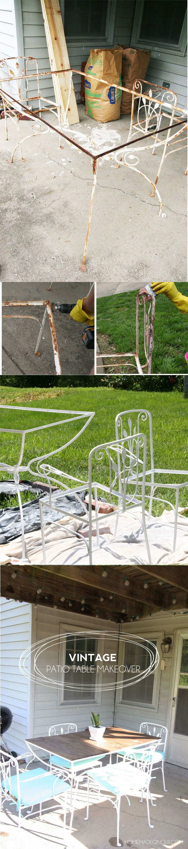 Learn how to spruce up an old rusted patio set by making a planked wood top!