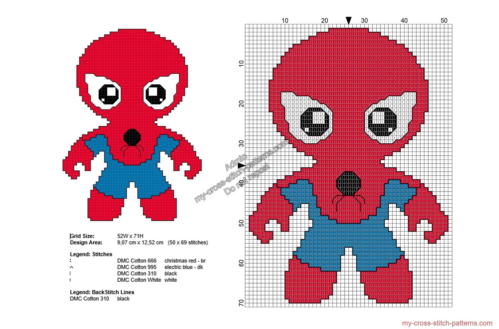 Baby Spiderman patrones punto de cruz gratis Superheroes 50x69 ...
