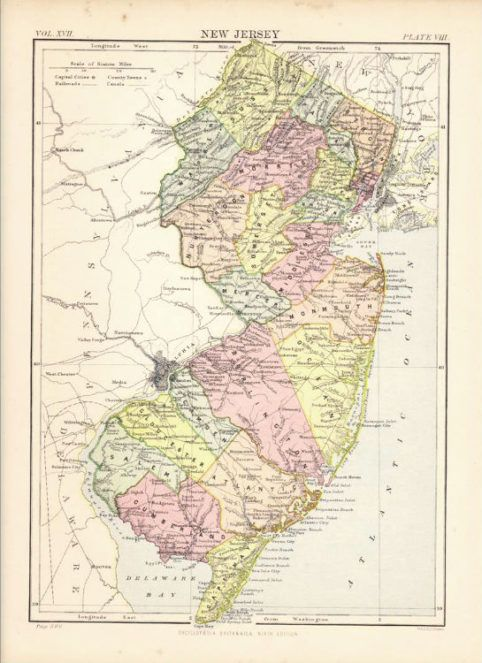 Antique Color Map of New Jersey. Encyclopaedia Britannica ... on map of jersey shore towns, map of jersey shore coast, map of europe coast, map maryland coast, map of southeastern united states coast, map of long beach island jersey shore, map of north jersey beaches, map of tybee island coast, map new york coast, map of washinton coast, map of lake michigan coast, map of singapore coast, map of eastern u.s. coast, map of thailand coast, map of biloxi coast, map of pismo beach coast, new jersey map east coast, map of south jersey coast, map of eastern united states coast, map of south atlantic coast,