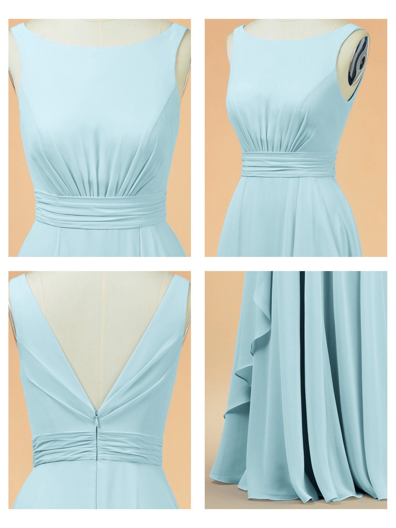 Alicepub aline chiffon bridesmaid dress long party evening dresses