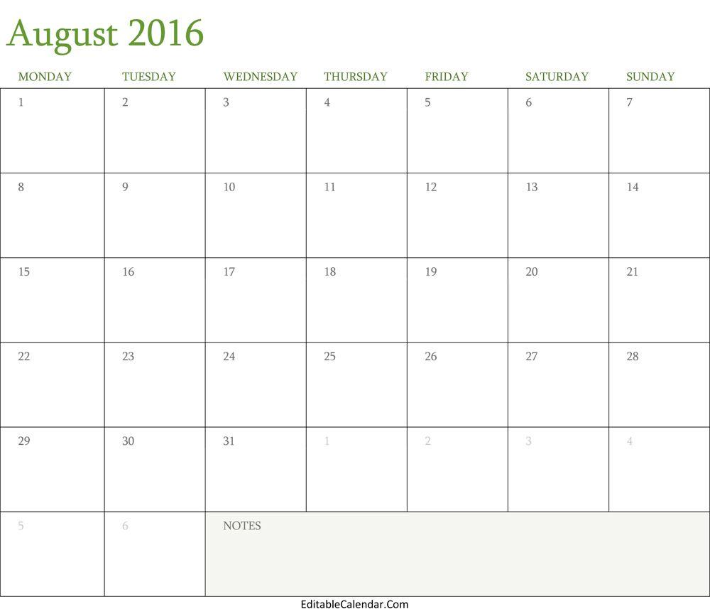 Blank August  Calendar Template Editablecalendarcom