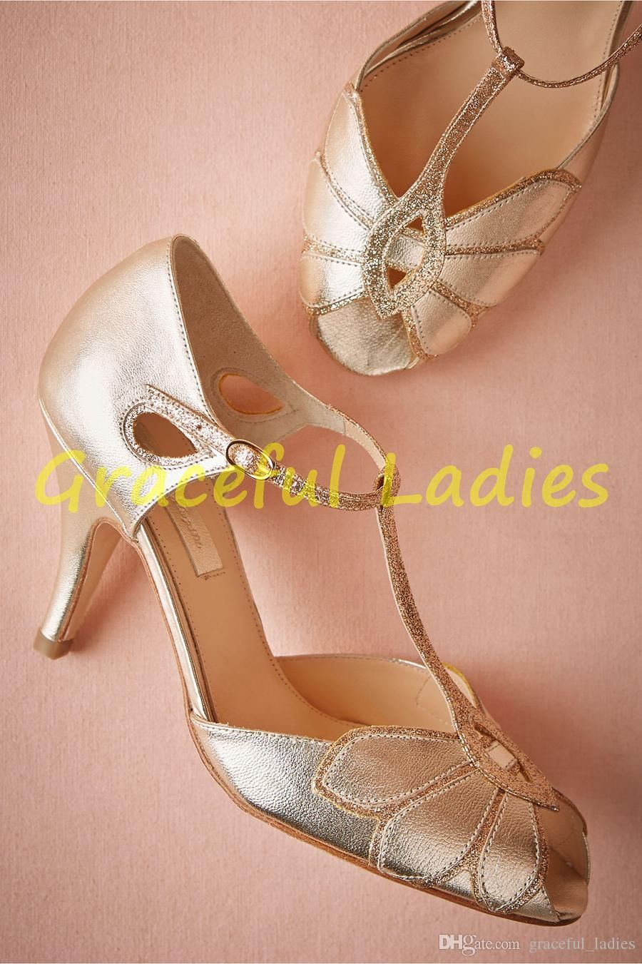 Vintage Gold Wedding Shoes Women Pumps Kitten Heel T Straps Buckle Closure Leather Party Dance