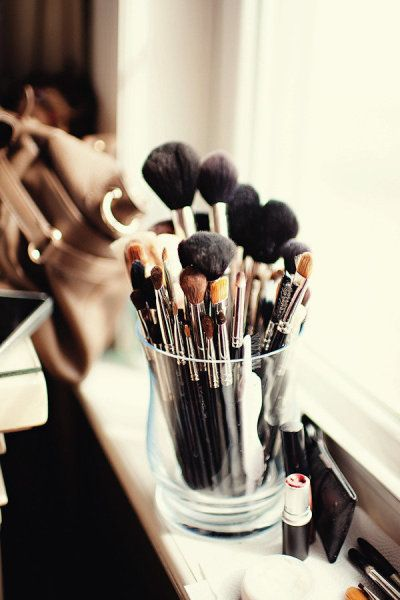 keep brushes in a nice vase/glass