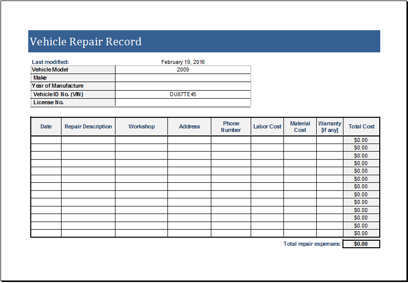 Vehicle Repair Log Download At HttpWwwXltemplatesOrgVehicle