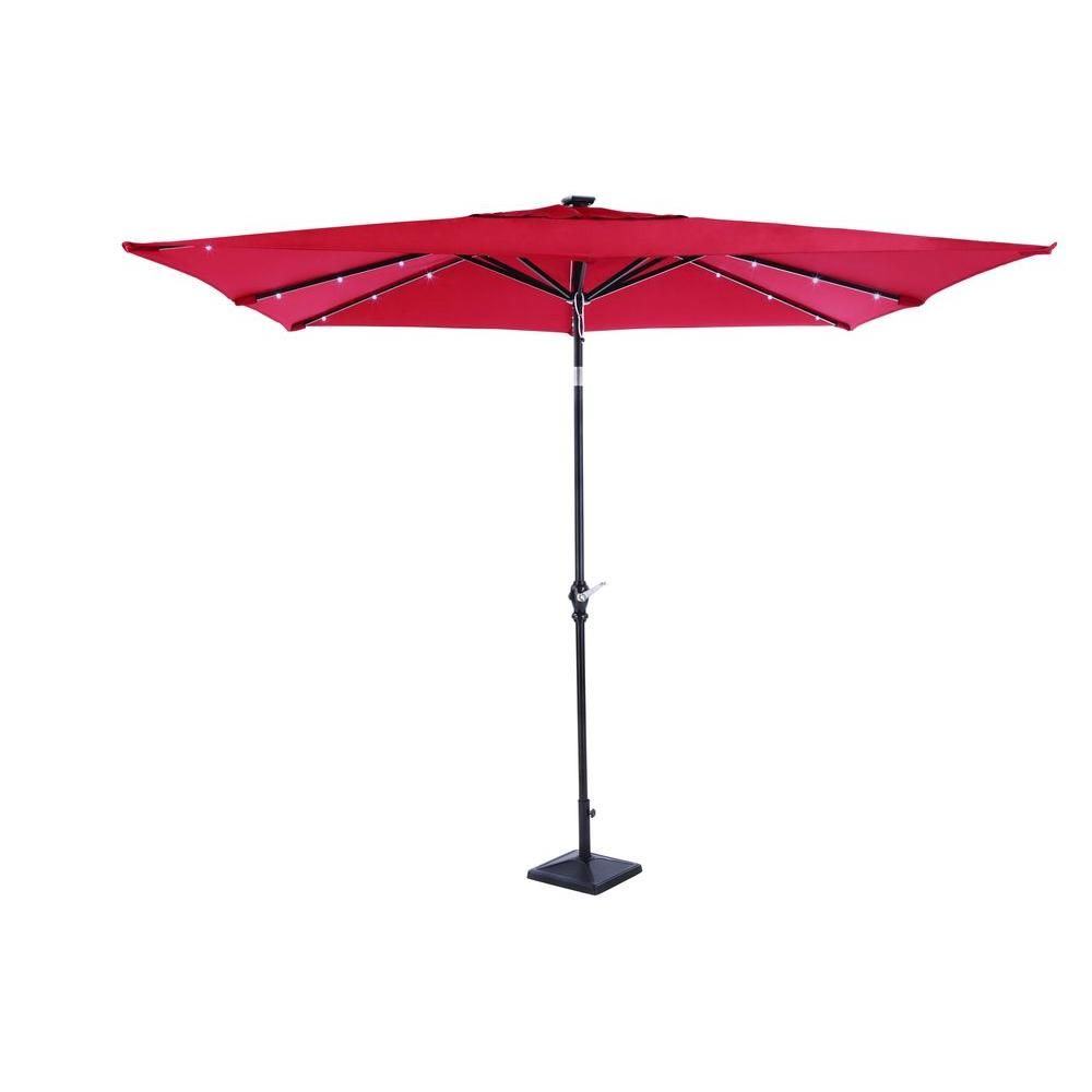 Astonica 9 Ft. Rectangular Solar Powered Patio Umbrella In  Scarlet 50400148 WEB