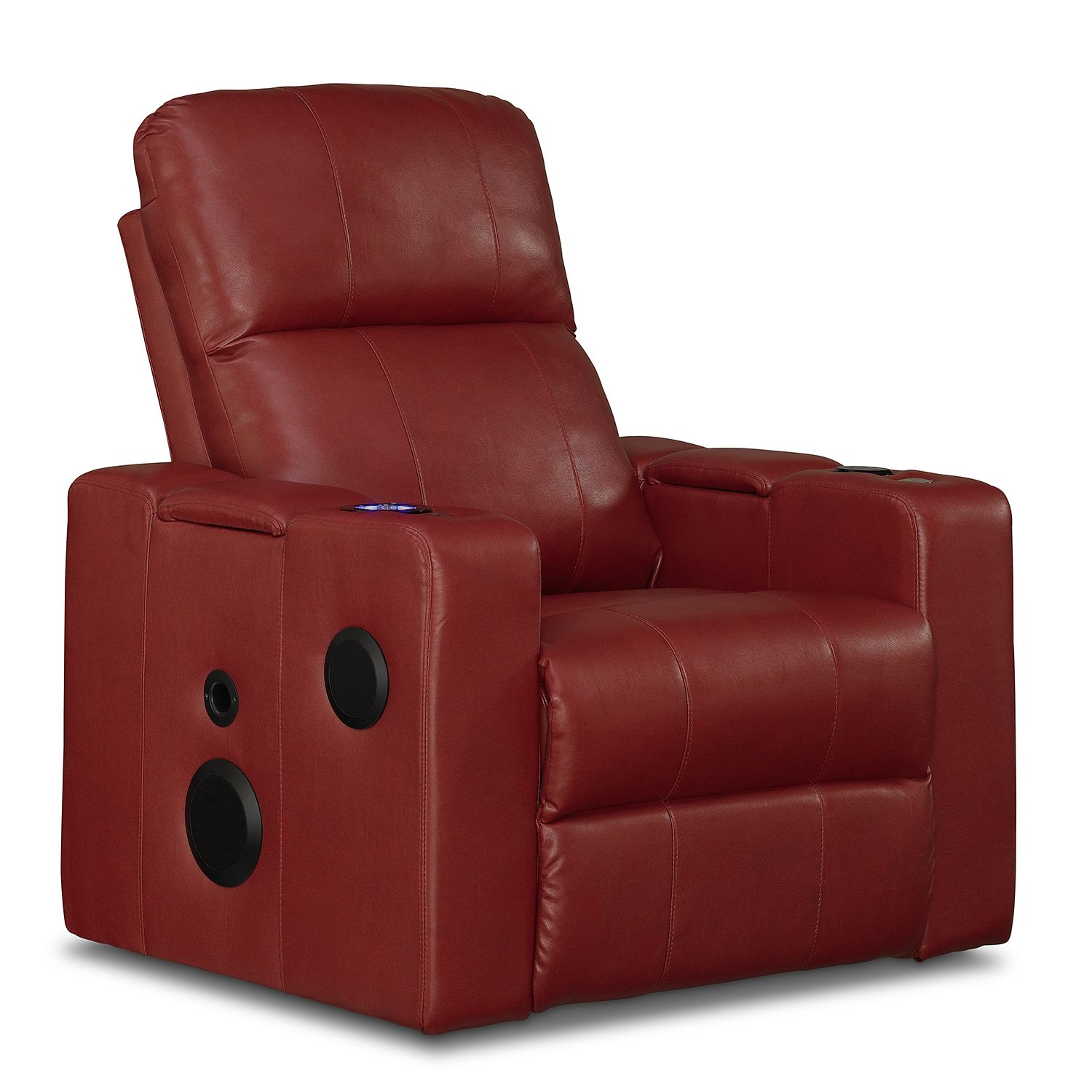 Leather recliner with builtin speakers, USB ports, power