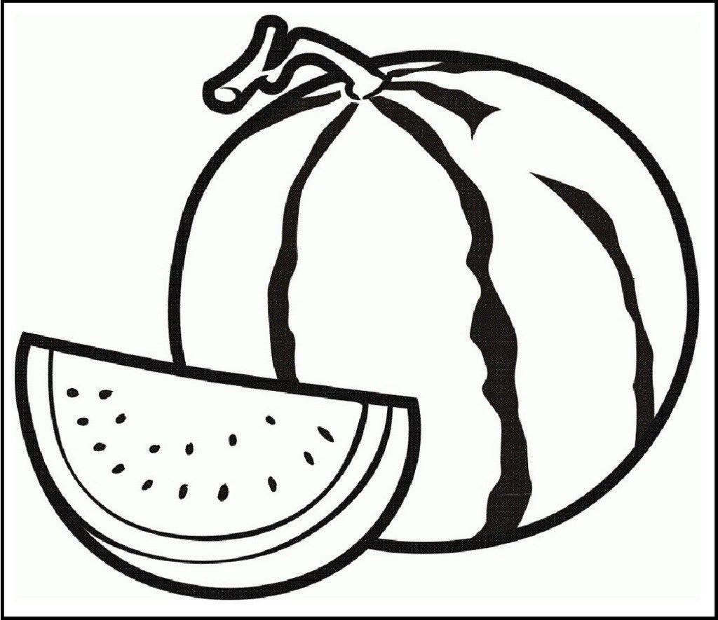 watermelon slice coloring page | Fruit coloring pages ...