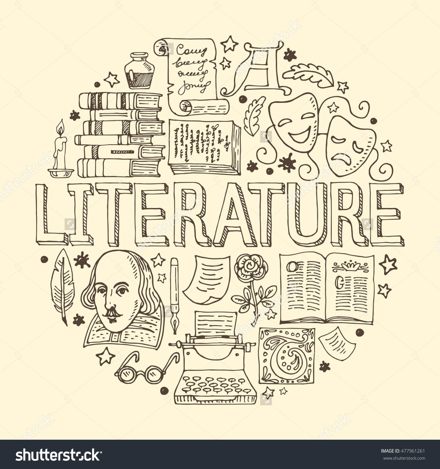 Arts Literature: Literature Hand Drawn Vector Illustration With Doodle
