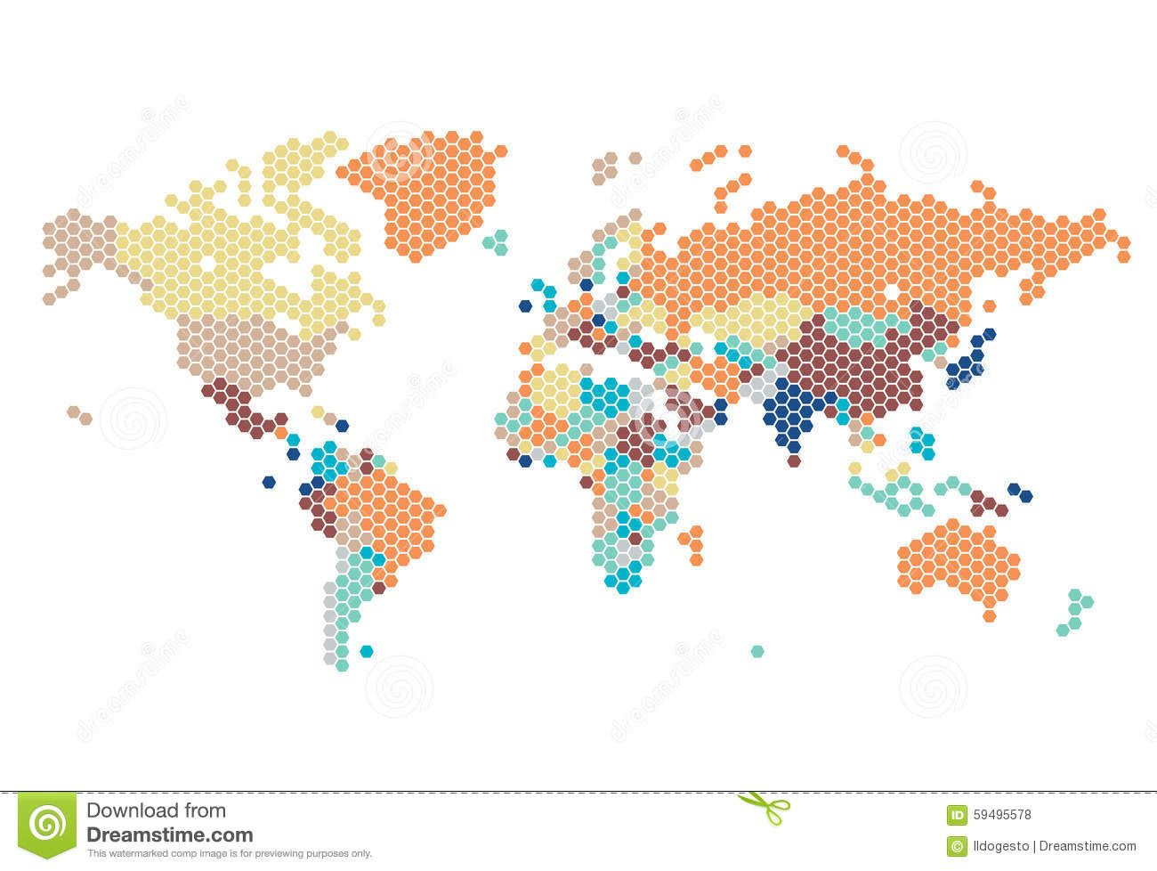 Dotted world map hexagonal dots white background vector illustration dotted world map hexagonal dots white background vector gumiabroncs Image collections