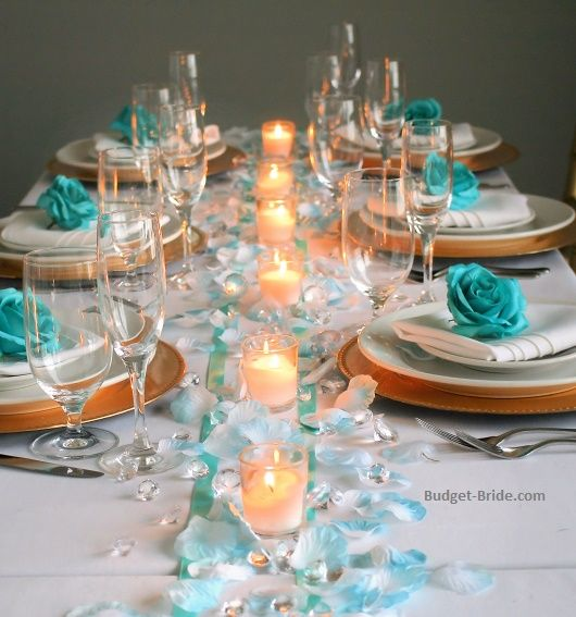 Teal Wedding Ideas For Reception: Teal Wedding Table With Turquoise Tipped Rose Petals And