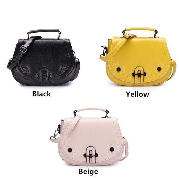 Women Leather Rivet Pig Crossbody Shoulder Bag