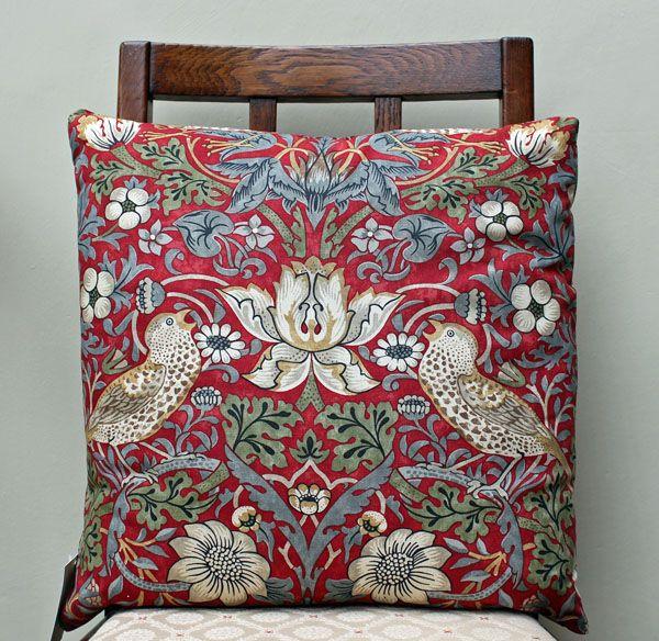 "Cushion Cover in William Morris Strawberry Thief Crimson 16/"" Sanderson Fabric"
