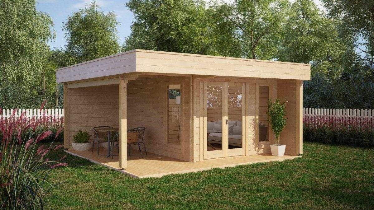 Modernes Gartenhaus modernes gartenhaus mit terrasse hansa lounge 12m 44mm 5x5