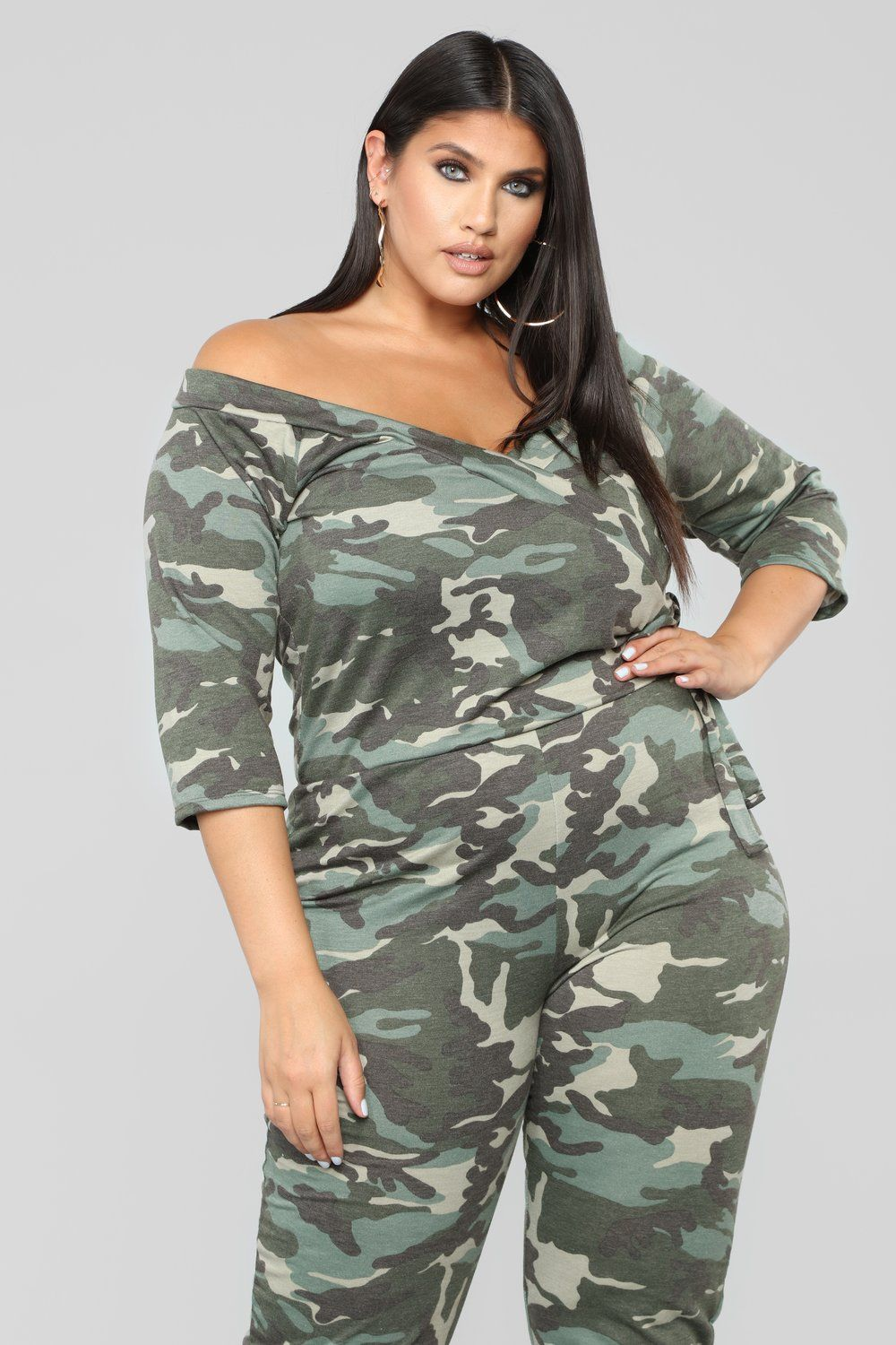15bcbcf66ba3 Embrace Surplice Jumpsuit - Olive. plus-size. French TerryJumpsuitsCamoTiesPlus  ...