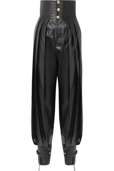 Pleated leather tapered pants