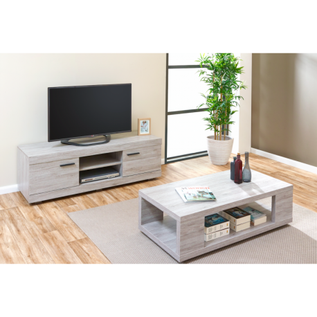 Ensemble Salon Moderne Meuble Tv Table Basse Gris Portofino