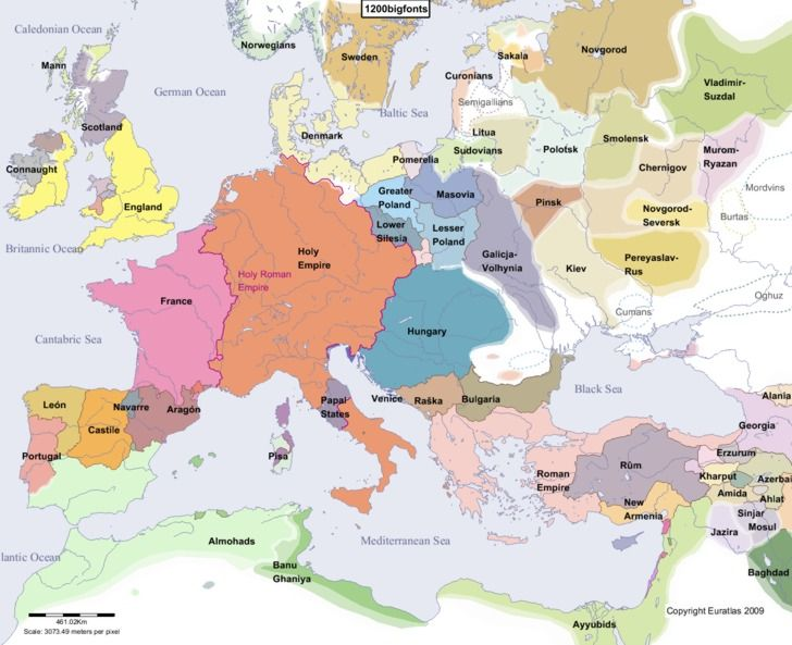 Historical Map Of Europe In The Year 1200 Ad Tribes Cultures