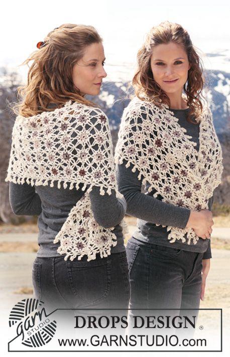 Super cute #crochet shawl in Alpaca and Fabel. DROPS Design freebie ...