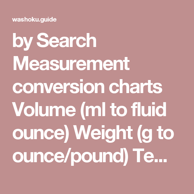 By Search Measurement Conversion Charts Volume Ml To Fluid Ounce
