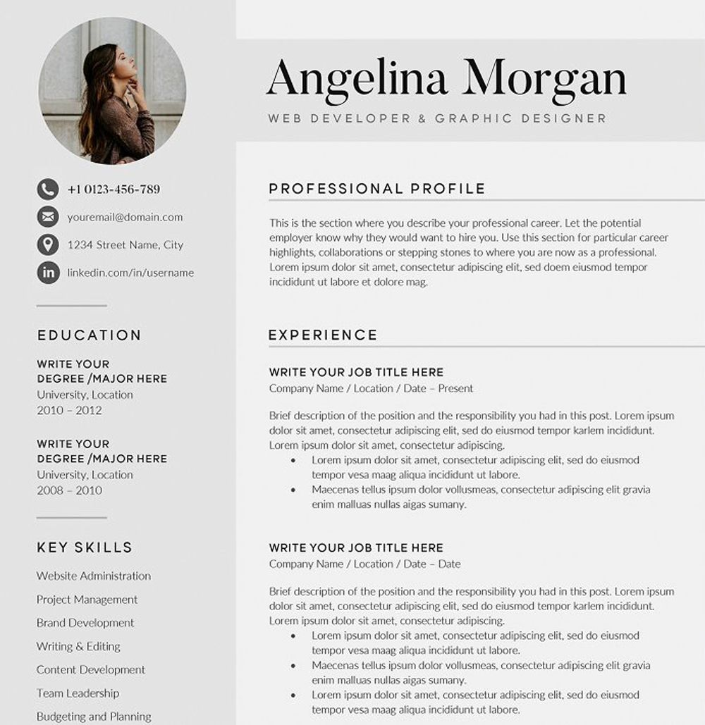 Resume Cv The Angel Microsoft Word 2007 Social Icons Resume