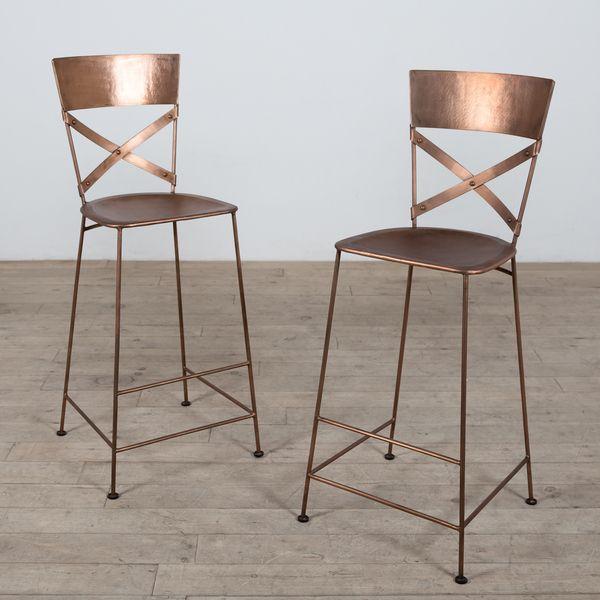 Set of 2 Jabalpur Copper Bar Stools (India)   Overstock.com Shopping ...