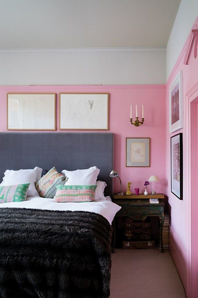 Bedroom Walls Painted 3 4 Of The Way Up With Bubblegum Pink Pink
