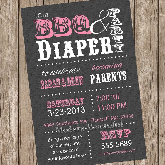 Couples BBQ And Diaper Baby Shower Invitation