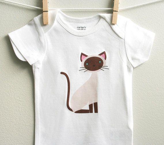 Baby clothes cute siamese cat. Long or by squarepaisleydesign, $15.00