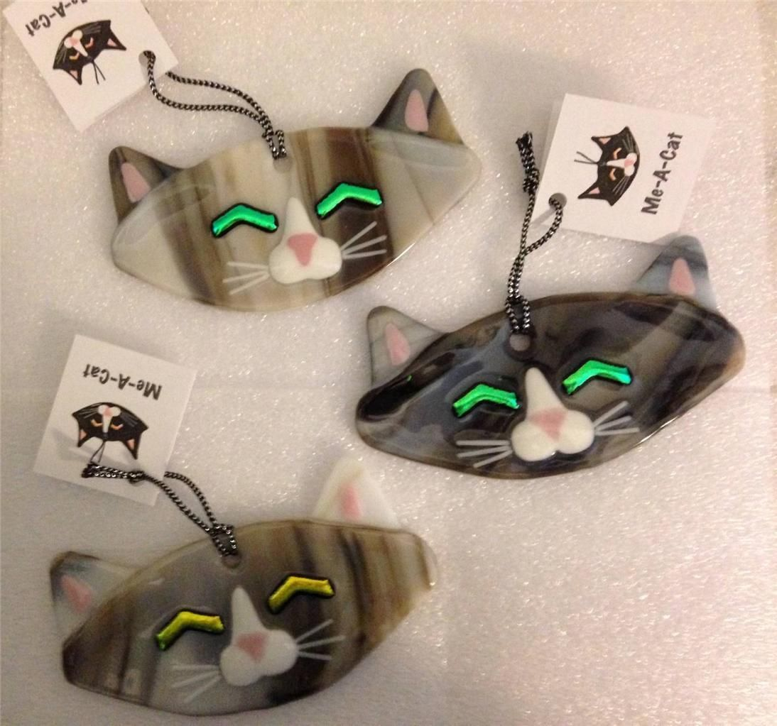 Glass cat ornaments - One Charlotte Arvelle Kiln Fired Glass Tiger Cat Signed Ornament