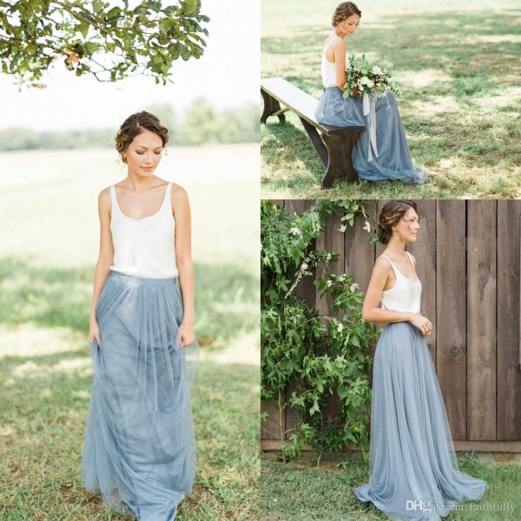 Fashion tulle country garden bridesmaid dresses scoop a line long