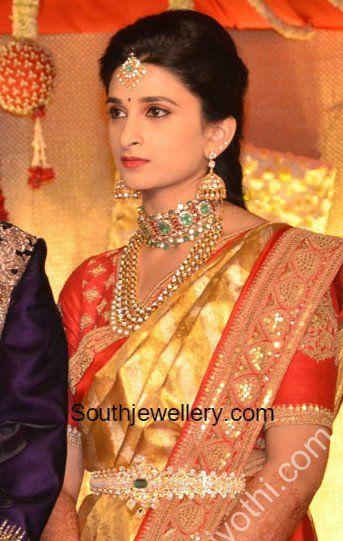 Bride Neha S Wedding Reception Jewellery Wedding Saree Blouse
