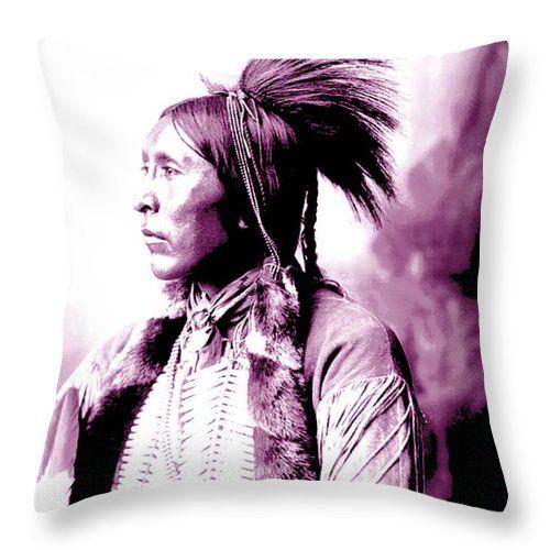 Two Hatchet Throw Pillow featuring the mixed media Ah Keah Boat Aka Jim Two Hatchet Of The Kiowa by Otis Porritt
