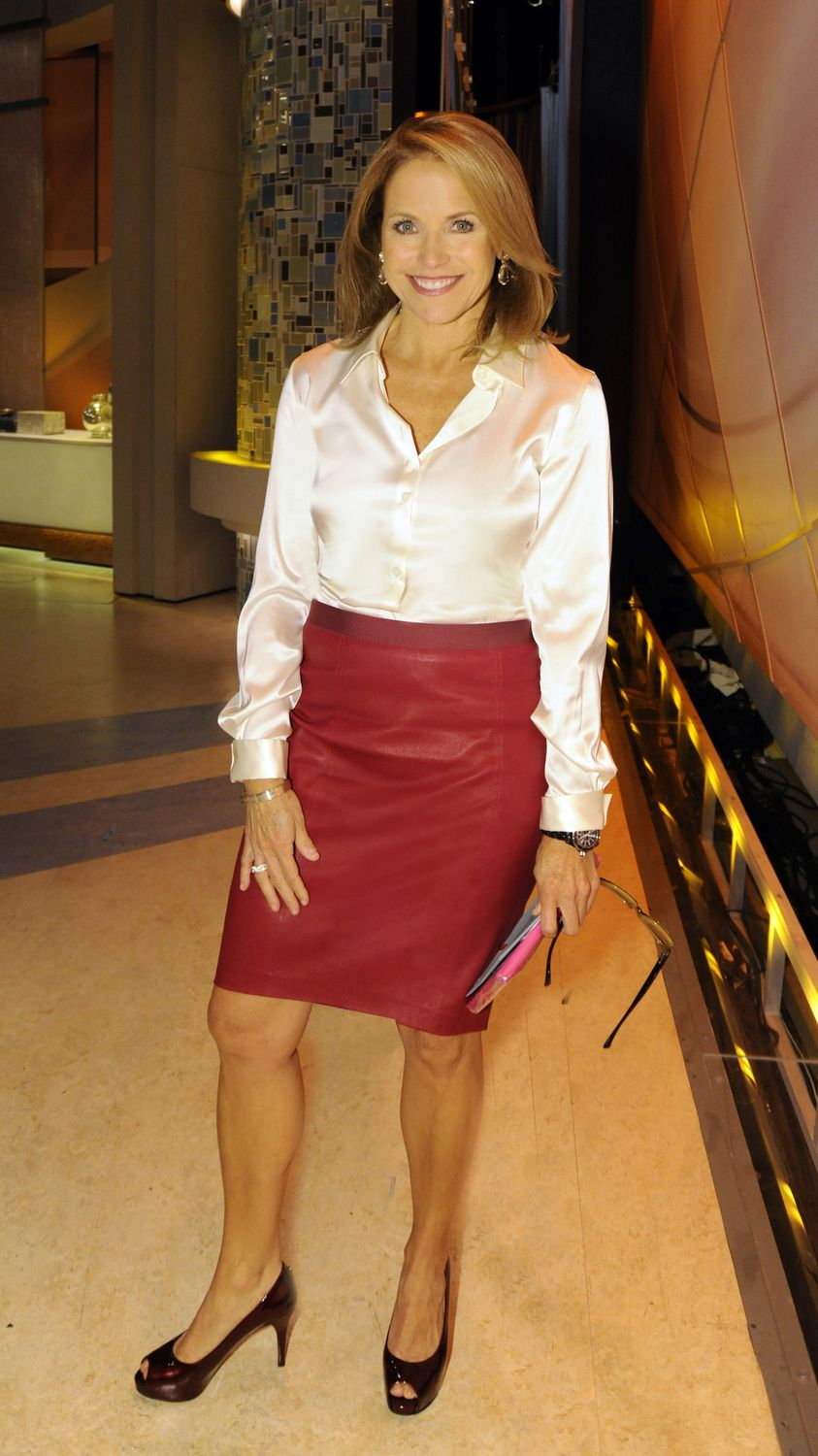 Katie Couric Rocks An Armani Blouse And A Elie Tahari