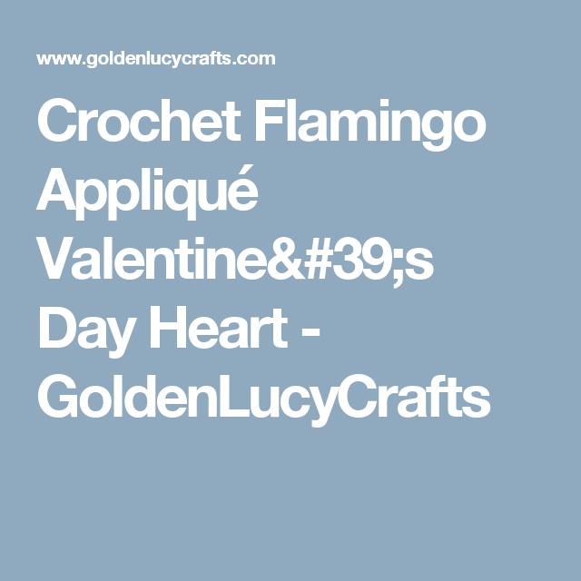 Crochet Flamingo Appliqué Valentine\'s Day Heart - GoldenLucyCrafts ...