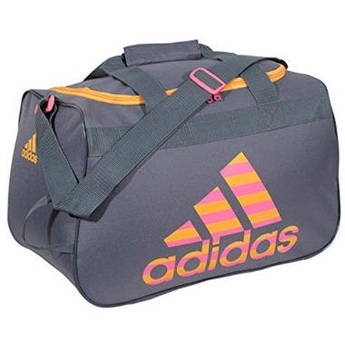 ADIDAS DIABLO SMALL DUFFEL Bag Gym Bag or Overnight Bag Grey   Neon Logo  NWT  adidas  DuffleGymBag 90aec8426da8f